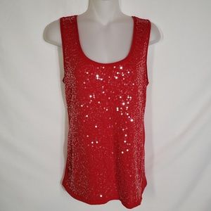Ann Taylor Loft Tank Top Sequin Embellished Red XS